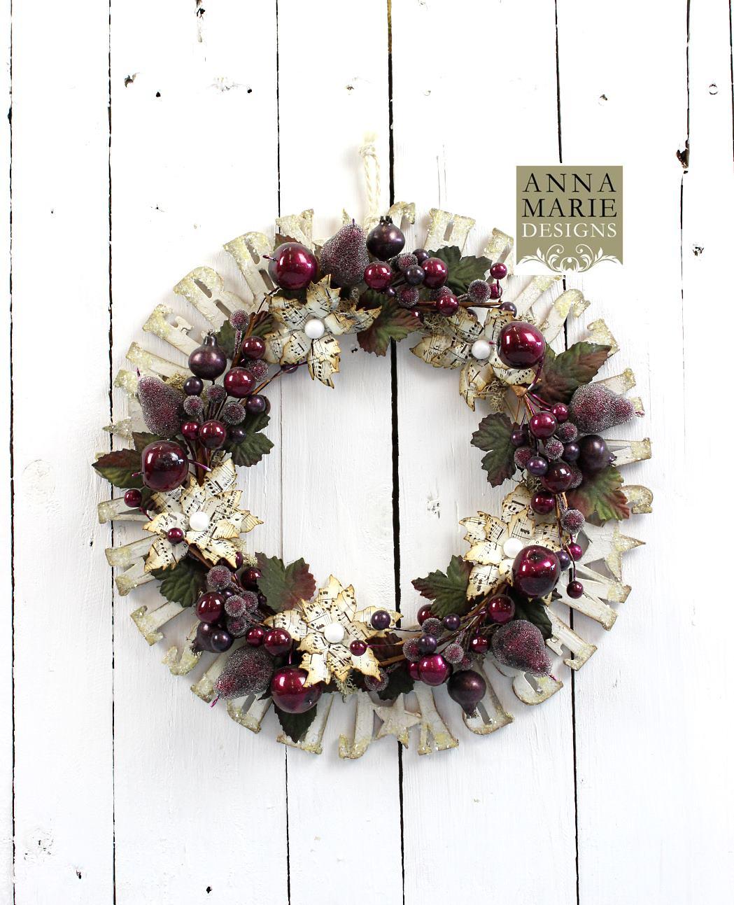 MDF Merry Christmas Wreath - Anna Marie Designs