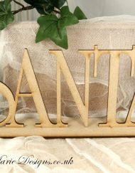 wooden stand up word santa