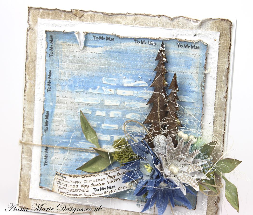 How To Make A Shabby Chic Blue Christmas Card With Inka Gold Paint Anna Marie Designs