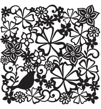 flower meadow stencil