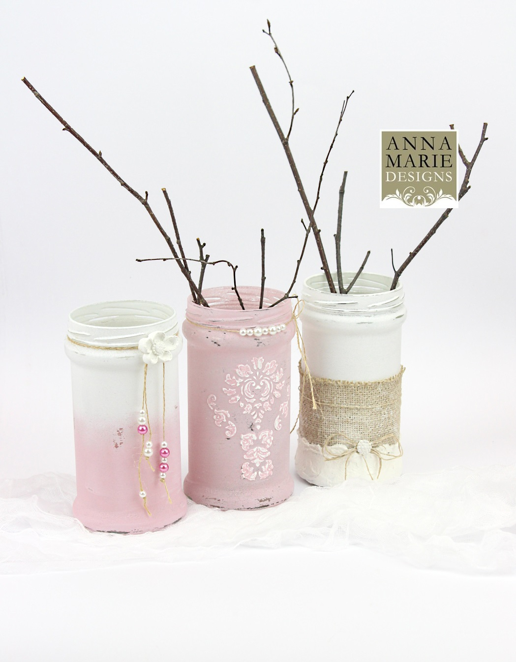 French style shabby chic vases - Anna Marie Designs