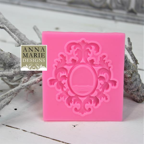 1549aa3875d Ornate Silicone Mould - Oval Flourish Frame - Anna Marie Designs