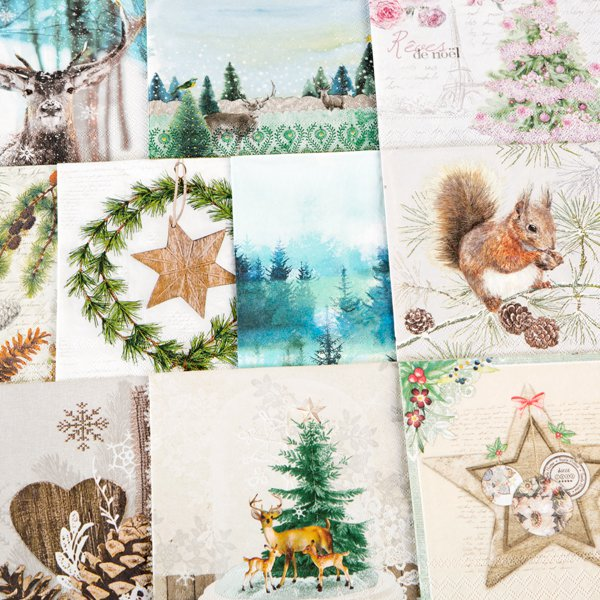 Christmas Napkins.Assorted Christmas Napkins Pk 10 Set 2 Brand New