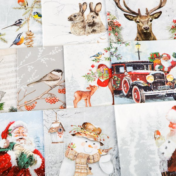 Christmas Napkins.Assorted Christmas Napkins Pk 10 Set 3 Brand New